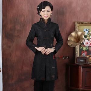 Chinese-Tang-suit-Women-039-s-long-coat-silk-jacket-size-M-5XL