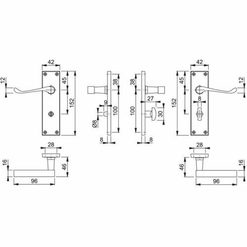 Victorian Scroll Bathroom Door Handle Polished Brass Lock Included 63mm or 76mm