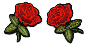Set-a-2-Stueck-Rose-Rosen-Aufnaeher-Patch-Roses-x