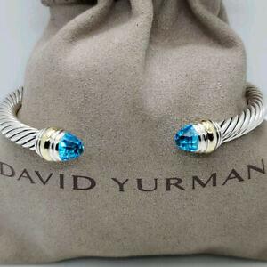 David Yurman Cable Bracelet 5mm Sterling Silver with Blue Topaz Cuff Brangle M
