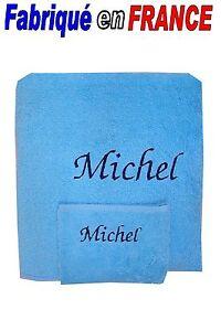 Serviette-gant-de-toilette-personnalise-ou-drap-de-bain-gant-NEUF-Ref-bleu
