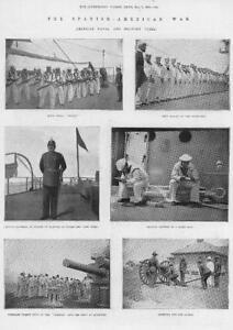 1898-Antique-Print-SPANISH-AMERICAN-War-US-Navy-Troops-Field-Guns-Rifles-135