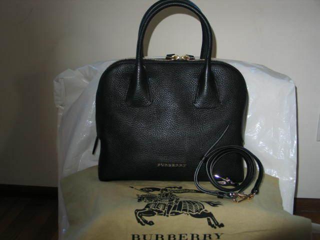 307db7f574 Burberry London Grainy Leather Small Greenwood Bowling Satchel Bag Black