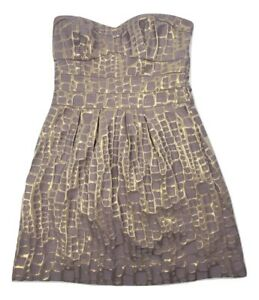 American-Eagle-Outfitters-Sleeveless-Cocktail-Dress-Gold-Metallic-Women-039-s-8