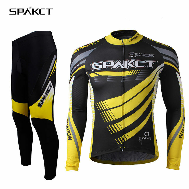 Spakct Cycling Winter Fleece Thermal Warm-Jersey Suit Sets with 3D Padded Yellow