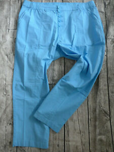 Sheego-Women-Pants-7-8-Capri-Size-40-to-58-Light-Blue-Elastic-Band-Back-159