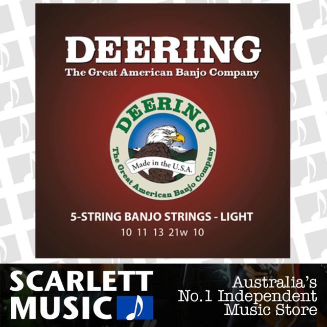 DEERING 5 String Banjo Set Light Gauge NEW 10-21 Strings Made in USA