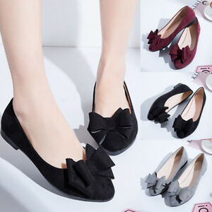 9dd920b7fb2 Women Fashion Flats Bow Pointed Toe Slip on Suede Casual Ballet Size ...