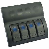 Blue Led 4 Gang Splashproof Waterproof Rocker Switch Panel Black