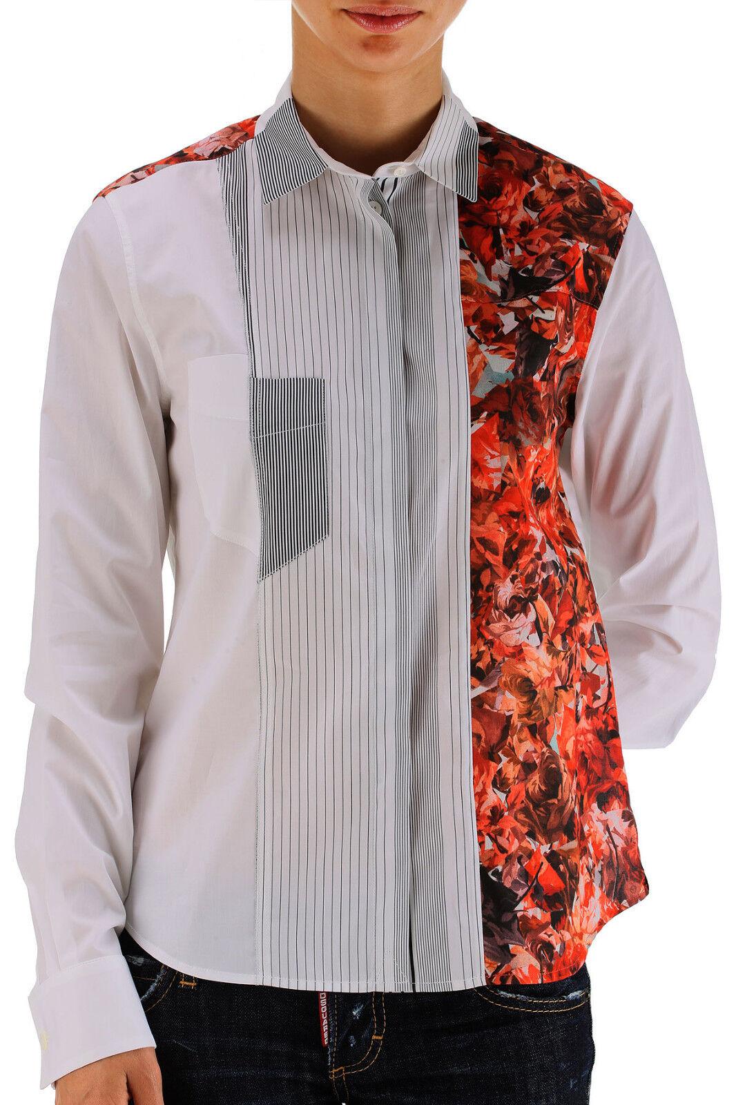 Paul Smith camicia intarsi fiori tg. 40, flower and geometrical print patchwork