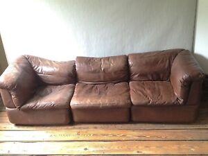 Rolf Benz Vintage Leder Modul Sofa Wohnlandschaft Couch Design Ebay