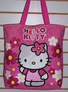 Image is loading Sanrio-HELLO-KITTY-Pink-Sparkle-Flowers-TOTE-Shoulder- f834aa06fd064