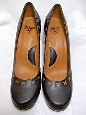 John Fluevog Womens Shoes / Heels / Pumps Black leather Tan trim  Size 11 M  #HB