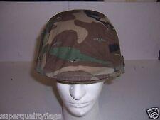 Steel Pot Helmet US M1 woodland camo complete genuine GI military surplus nice
