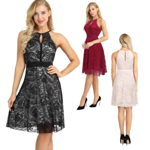 Womens Lace Halter Neck Short Dress Cocktail Party Evening Formal