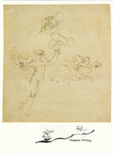 Merkur und zwei Amoretten Kunstpostkarte Raffaello Santi
