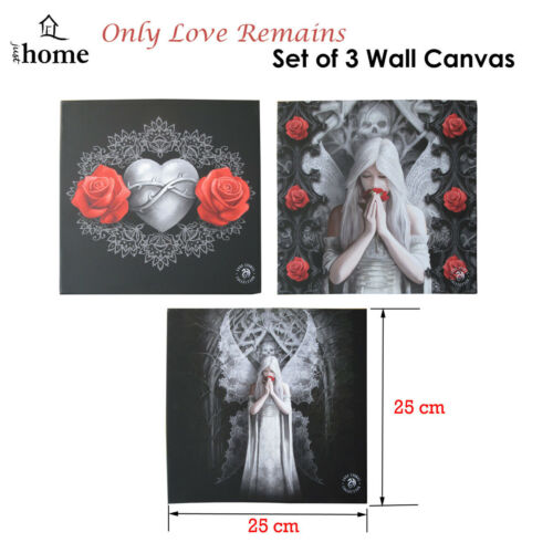 Set of 3 Only Love Remains Wall Canvas by Anne Stokes