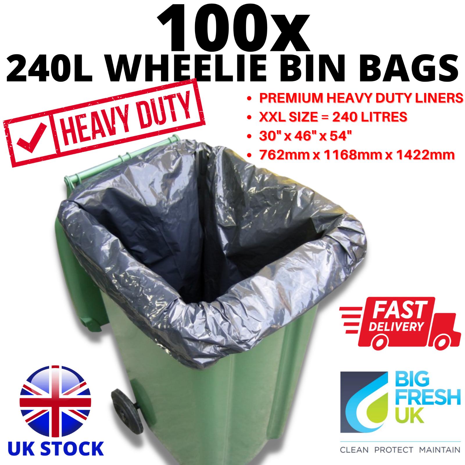 100 x WHEELIE BIN BAGS 240L - HEAVY DUTY THICK BAG LINERS 762mm x 1168mm x 1422m