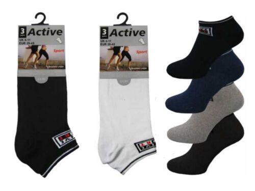 3 Homme Actif riche en coton big foot Trainer Liner Chaussettes//facultatif//UK 11-14