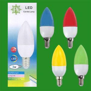 8x-3w-LED-de-color-SES-E14-Vela-Lampara-Bombilla-Rojo-Amarillo-Verde-Azul