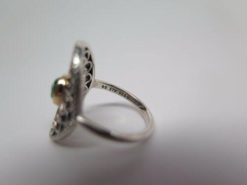 21d6a273b New w/ Hinged Box Pandora Vintage Allure Green Spinel Ring #190885SSG ALL  SIZES