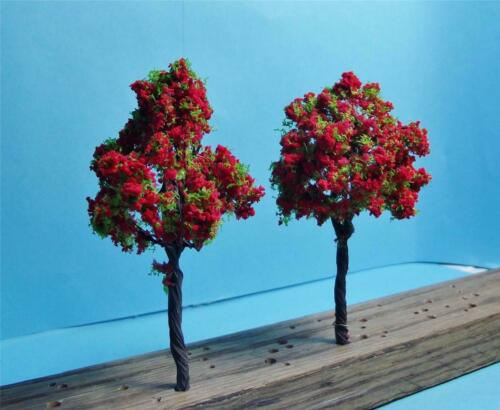 "Multi Scale Use Seasonal Trees Nice Quality Red Fall Trees 6 Pcs at 3 1//2/"" Tall"