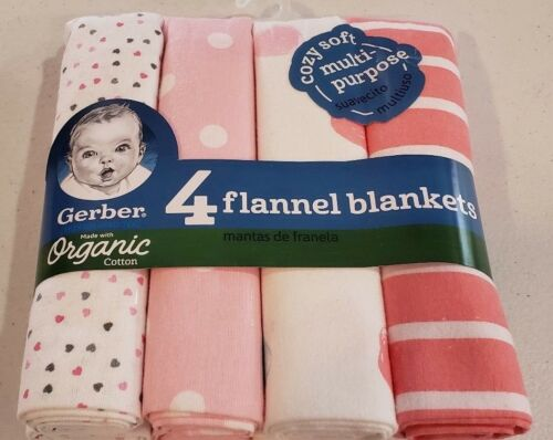 Gerber Baby Girls 4 Pack Organic Cotton Flannel Blankets NEW