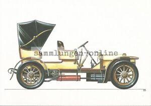 MERCEDES-SIMPLEX-VOITURES-DE-TOURISME-1902-Dessin-graphique-carte-postale-AK