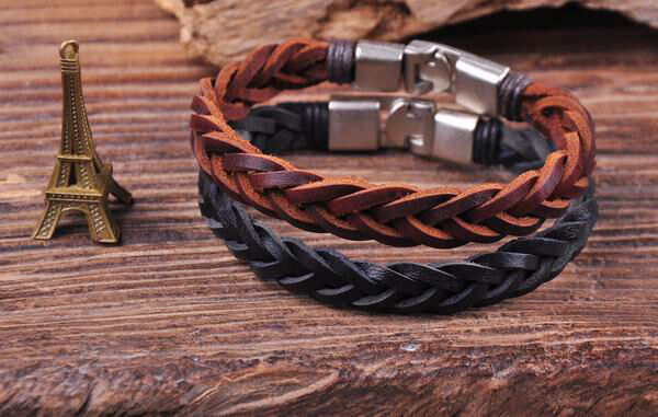 S509 Retro Classic Genuine Leather Braided Bracelet Wristband Men's Cuff B&K 2PC