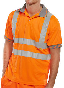 BSeen-High-Visibility-Orange-Short-Sleeve-Polyester-Polo-Shirt-Rail-Spec-Hi-Viz