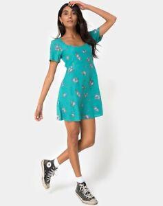 MOTEL-ROCKS-Peky-Babydoll-Dress-in-Soi-Rose-Green-M-Medium-mr7-1