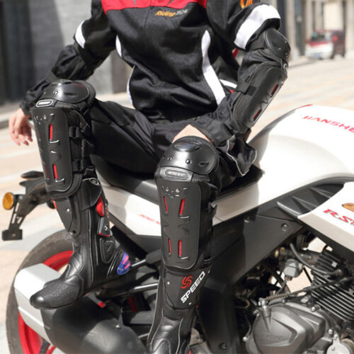 Knee Pads Motorcycle 4Pcs Adult Elbow Knee Shin Guards Protector Motocross Black