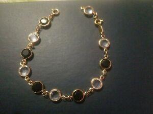 Black-and-White-Fashion-Tennis-Bracelet-Gold-Tone