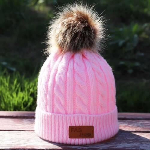 Unisex Toddler Girl Boy Kids Baby Infant Winter Warm Fur Pom Knit Hat Beanie Cap