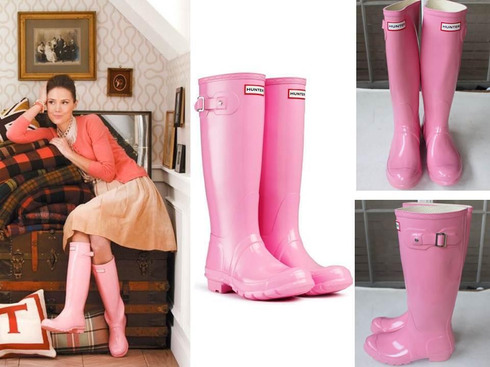 Rare Retired Gorgeous Hunter Original Tall Gloss Classic Pink Rubber Rain Boots
