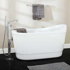freestanding tub with faucet holes. Image is loading Signature Hardware 55 034 Emeigh Acrylic Freestanding Tub  No Faucet