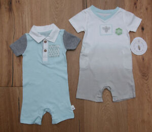 b303f4858 Burt s Bees Baby Boy 2 Piece Romper Set ~ Blue