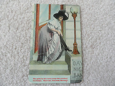 The girls in this town wear the swellest stockings - Vintage 1910 Postcard