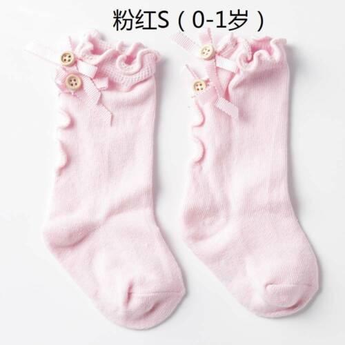 Girls Infant Baby Long Socks with Bows Ruffle Toddler Children Knee High Sock