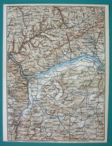 Bingen Germany Map.1884 Map Baedeker Germany Bingen Mainz Wiesbaden Bad Kreuznach