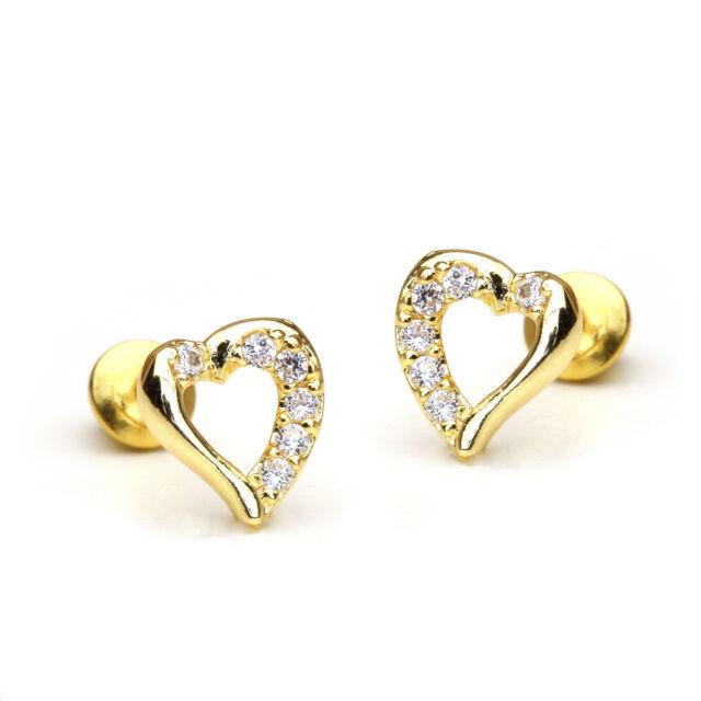 14k Gold Plated Open Heart Children Back Baby S Earrings