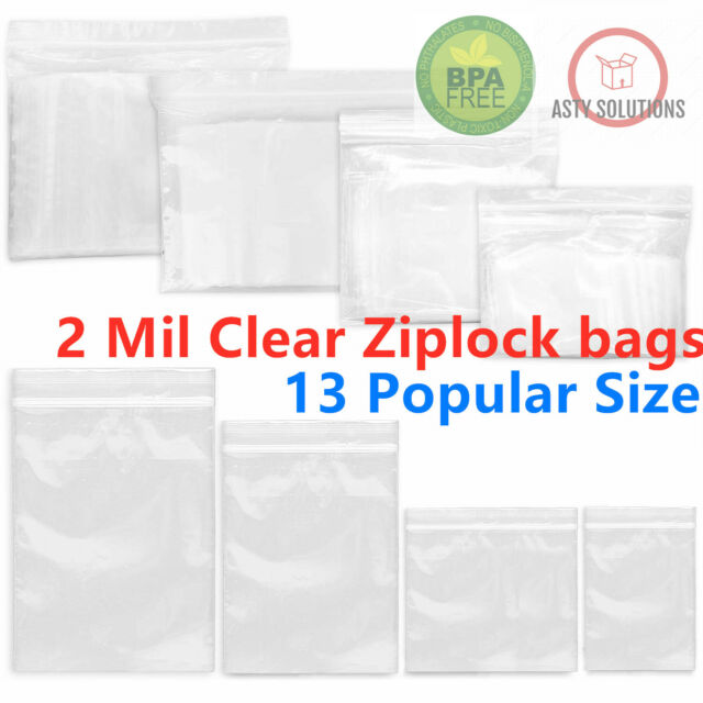 """2Mil Clear Reclosable Poly Jewelry Bags Zip Lock Top Seal Bag 5/"""" x 7/"""" 2000 Packs"""