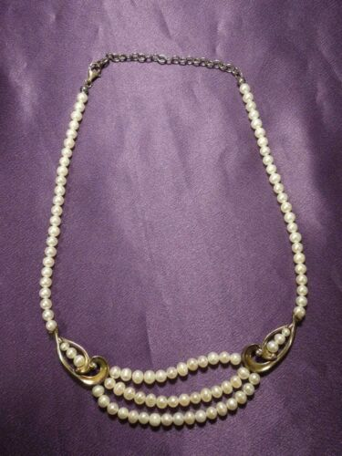 Togo Clasp Vintage Sterling Silver Flower and Pearl Necklace 17 Inches Gifts for Her Pearl Necklace Unique Necklace # 484