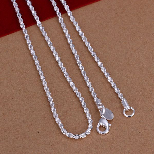 2MM Rope Fashion 925 Sterling silver cute lady Chain Necklace for Pendant N226