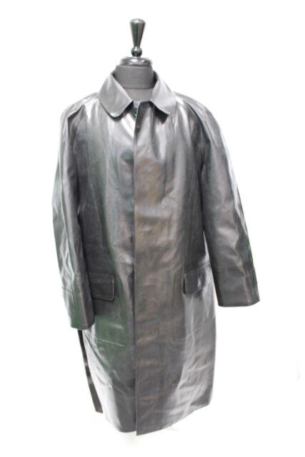 GEKKO RAINWEAR Made In England Black Rubber Coated Cotton Raincoat Size 42 - O04