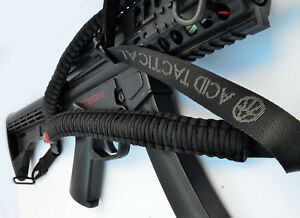 Tactical-550-Paracord-Rifle-Gun-Sling-Single-Point-50-034-Compass-amp-Flint-Black