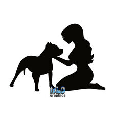 PIT BULL with WOMAN Vinyl Sticker Registered Pet AKC Puppy I Love PROUD OWNER