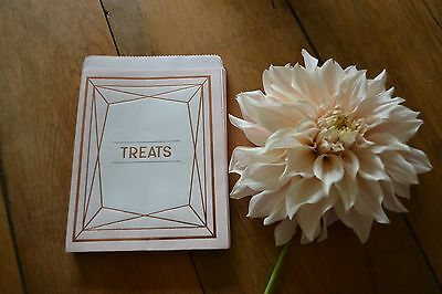 25 BLUSH PINK PAPER SWEET BAG WEDDING CANDY BAR GEOMETRIC ROSE GOLD VINTAGE