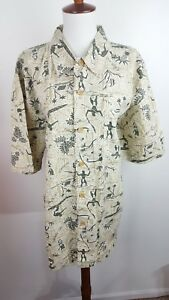 1d655cde Union Bay Mens XL Hawaiian Aloha Shirt Palm Trees Fish Hula Dancer ...