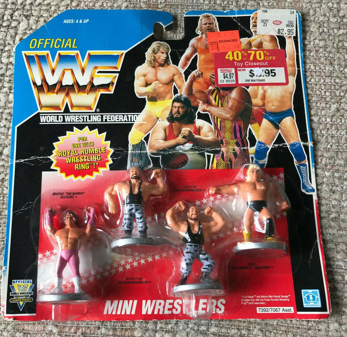 WWF WWE Luchador Mini Juego de 4 Moc bushwackers Brutus de pastel de Cochene Greg El Martillo